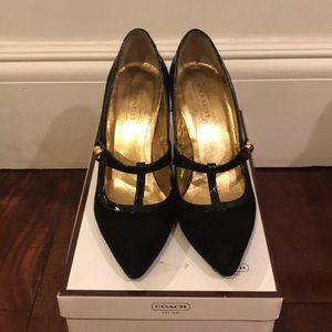 black suede Coach heels